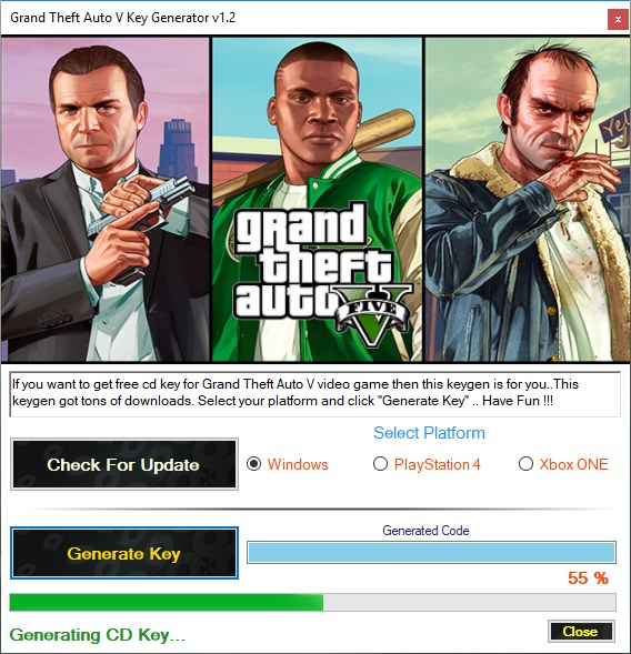 Grand Theft Auto V key generator download