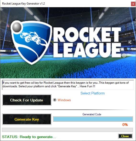 Rocket League Product Key Generator Screenshot