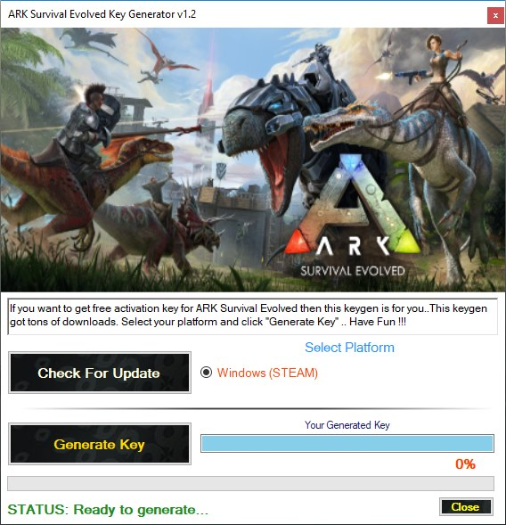 ARK Survival Evolved Key Generator Download