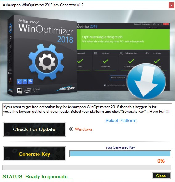 Ashampoo WinOptimizer 2018 Key Generator Download Free