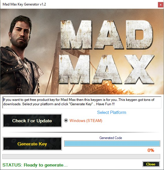 Mad Max CD Key Generator Download Free