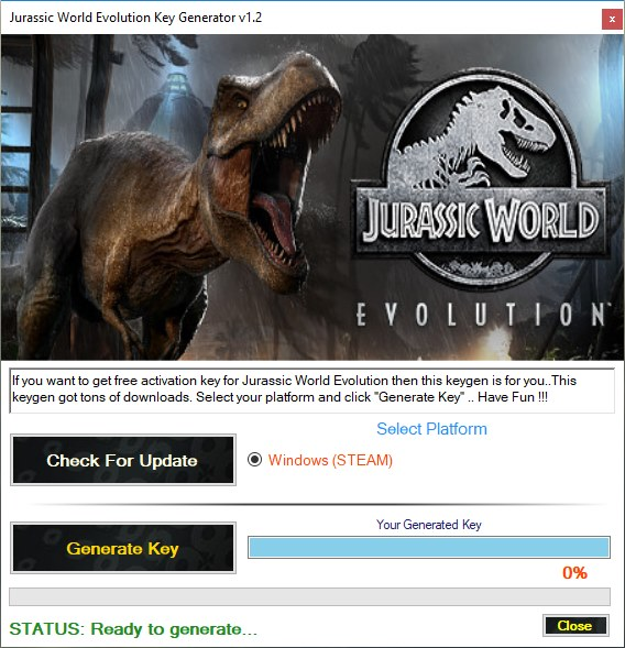 Télécharger Jurassic World Evolution Steam Key Generator