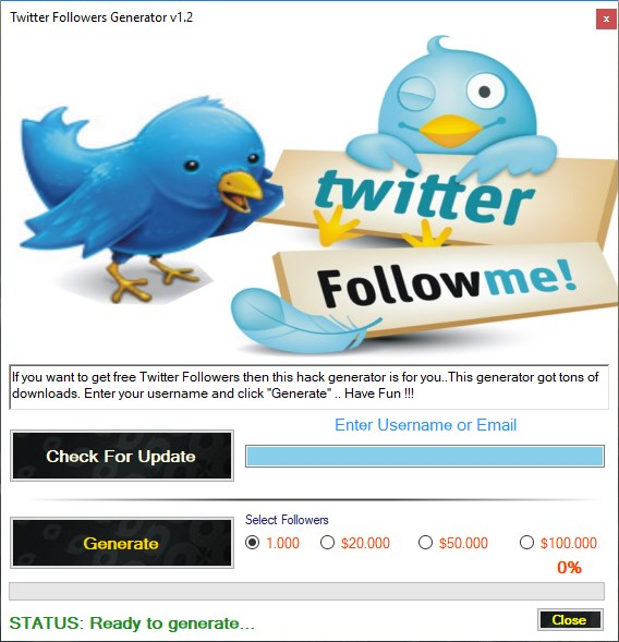 Twitter Followers Generator Download