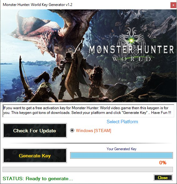Monster Hunter World CD Key Generator Download Free