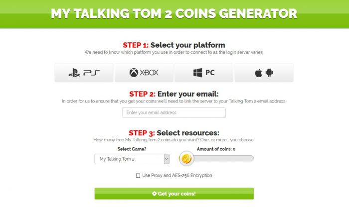 my talking tom 2 coins generator
